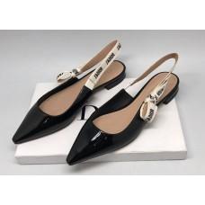 Женские лаковые кожаные туфли Christian Dior черные с открытой пяткой на низком каблуке