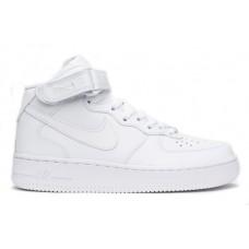 Кроссовки высокие кожаные белые Nike Air Force 1 Mid 07 (White)