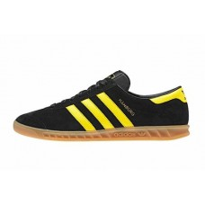 Мужские черные кеды  Adidas Hamburg Black/Yellow