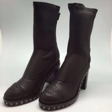 Женские брендовые кожаные полусапоги Chanel Черные