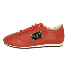 Мужские кожаные кроссовки Dolce&Gabbana красные с белой полосой