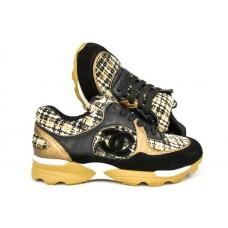 Женские брендовые кроссовки Chanel EX Sport коричневые