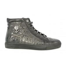 Мужские высокие осенние брендовые ботинки Philipp Plein Metall Skull черные