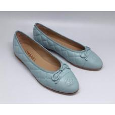 Женские брендовые кожаные балетки Chanel Cruise Light Blue