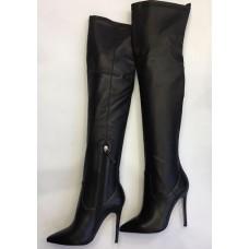 Женские кожаные ботфорты Gianvito Rossi черные