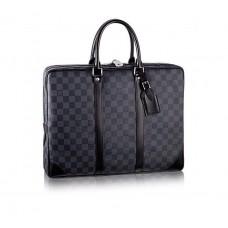 Мужская деловая брендовая кожаная сумка Louis Vuitton Porte-Documents Voyage Blue