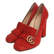 Женские замшевые летние туфли Gucci Marmont красные с пряжкой