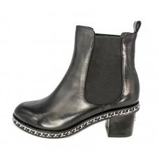 Женские брендовые кожаные полусапоги Chanel High Black