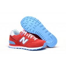 Женские летние кроссовки New Balance 574 Red/Blue/White со скидкой