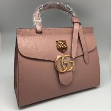 Женская кожаная сумка Gucci розовая
