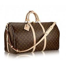 Брендовая кожаная дорожная сумка Louis Vuitton Keepall Broun