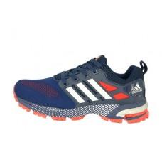 Мужские беговые кроссовки Adidas Marathon Flyknit синие с красным