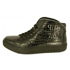 Мужские высокие осенние кроссовки Philipp Plein кожаные черные