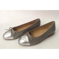 Женские брендовые балетки Chanel Cruise Low Grey/Silver