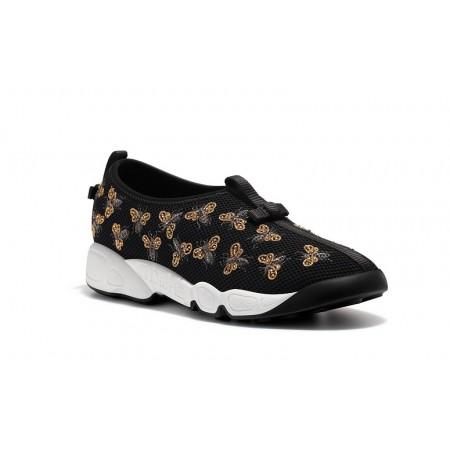 Женские летние кроссовки Christian Dior Low черные с вышивкой