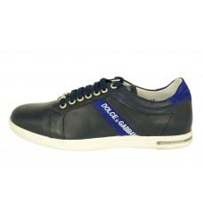 Мужские кожаные кроссовки Dolce&Gabbana синие