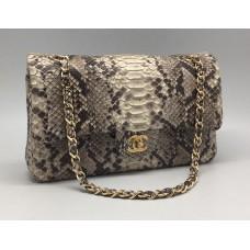 Женская сумка Chanel Grey/White (ПИТОН)