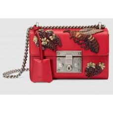 Женская кожаная сумка Gucci красная на цепочке
