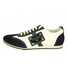 Мужские кожаные кроссовки Dolce&Gabbana бело-синие