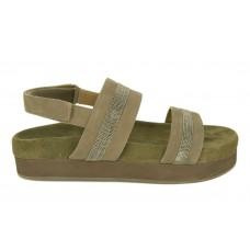 Женские замшевые сандалии Brunello Cucinelli темно-зеленые