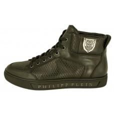 Мужские высокие осенние кроссовки Philipp Plein Anniston кожаные черные