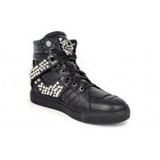 Мужские высокие кожаные осенние ботинки Philipp Plein Spikes