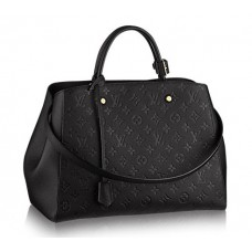 Женская  брендовая кожаная сумка Louis Vuitton Montaigne GM Черная
