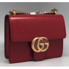 Женская красная кожаная сумка Gucci