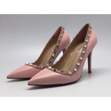 Женские кожаные летние туфли Valentino Garavani Rockstud розовые