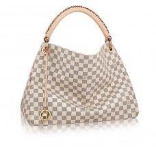 Женская брендовая кожаная сумка Louis Vuitton Artsy White