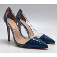 Женские кожаные лакированные туфли Gianvito Rossi Plexi синие