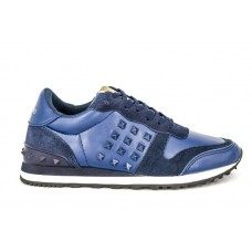 Женские кожаные кроссовки Valentino Garavani Rockstud синие