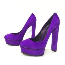 Женские замшевые туфли на платформе и высоком каблуке Casadei синие