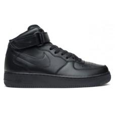 Кроссовки высокие кожаные Nike Air Force 1 Mid 07 (black)