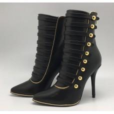 Женские осенние кожаные сапоги Balmain черные на каблуке