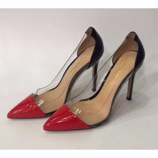 Женские кожаные лакированные туфли Gianvito Rossi Plexi черные с красным