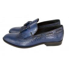 Мужские кожаные летние туфли Gucci синие