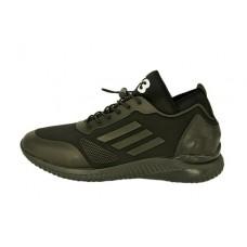 Мужские кожаные кроссовки Adidas Yohji Yamamoto черные с перфорацией