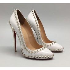Женские белые кожаные туфли Christian Louboutin Pigalle с шипами на высоком каблуке