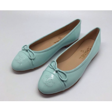 Женские брендовые кожаные балетки Chanel Cruise голубые