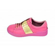Женские кожаные кроссовки Valentino Garavani Rockstud розовые с золотом