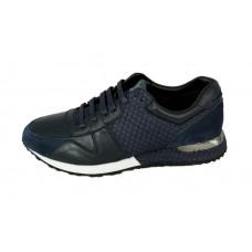 Мужские брендовые кожаные кроссовки Louis Vuitton Run Away Sneakers Blue