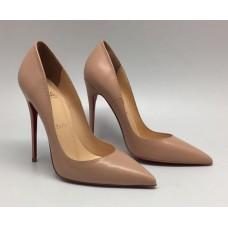 Женские брендовые бежевые кожаные туфли Christian Louboutin