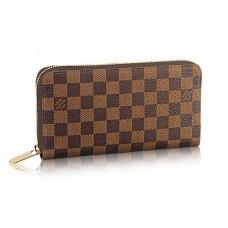 Брендовый кожаный кошелек Louis Vuitton Damier Broun