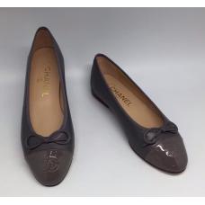 Женские брендовые кожаные балетки Chanel Dark Grey