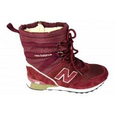 Женские зимние дутики New Balance Red с мехом