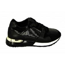 Женские брендовые кожаные кроссовки Louis Vuitton Black