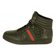 Мужские высокие осенние кеды Gucci черные кожаные