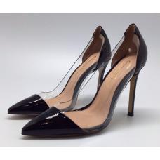 Женские кожаные лакированные туфли Gianvito Rossi Plexi черные