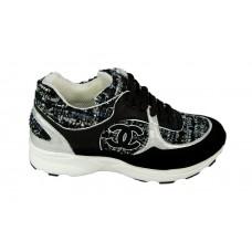 Женские брендовые кроссовки Chanel EX Sport текстиль